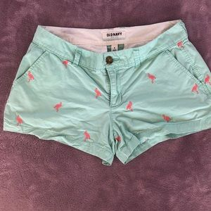 Old navy Turquoise and pink flamingo shorts